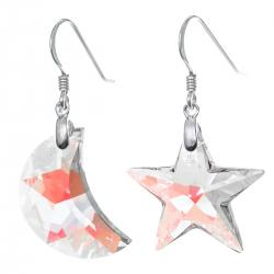 Sterling Shiny Moon & Star Swarovski Crystal  Dangle French Hook Earrings Limited edition