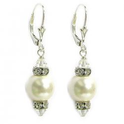 "10mm White Genuine Swarovski Pearl And Swarovski Crystals Silver Leverback 1.5"" Long Drop Earrings"