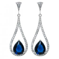 Rhodium on 925 Sterling Silver Teardrop Loop Blue Glass with Clear CZ Crystal Dangle Charm Earring...