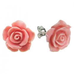 Sterling Silver Simulated Pink Coral Rose Earring Stud Post 15mm