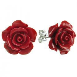 Sterling Silver Simulated Red Coral Rose Earring Stud Post 15mm