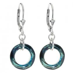 Sterling Silver Round Bermuda Blue Crystals Leverback Dangle Earrings Using Swarovski Elements...