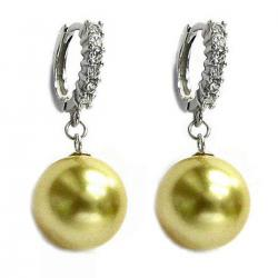 12mm Genuine Swarovski Round Gold Crystal Pearl Sterling Silver CZ Hoop Dangle Earrings