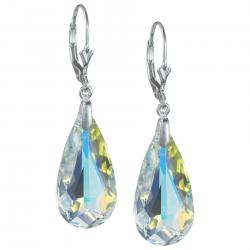 Sterling Sivler Teardrop Clear AB Crystals Leverback Dangle Earrings Using Swarovski Elements...
