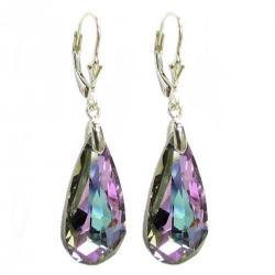 Vitrail Light Purple Genuine Swarovski Crystals Sterling Silver Leverback Dangle Earrings