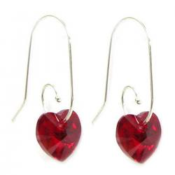 Swarovski Crystal  Love Siam Red Heart Sterling Silver Dangle Earrings Swirl Hook