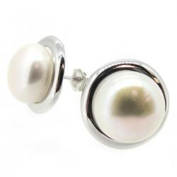 2x Rhodium Sterling Silver Genuine 11mm White Freshwater Cultured Button Pearl Earrings Stud Post