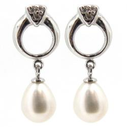 2x  Sterling Silver Genuine 7mm White Cultured Freshwater Pearl  CZ Dangle Stud Earring Post