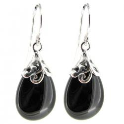 Sterling Silver Flower Bail Teardrop Black Onyx Charm Dangle French Hook Earwire Earring