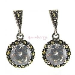 2x Sterling Silver Marcasite Round Clear CZ Crystal Dangle Stud Earring Post