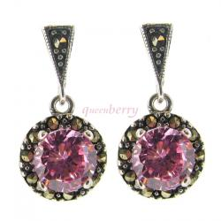 2x Sterling Silver Marcasite Round Rose Pink CZ Crystal Dangle Stud Earring Post
