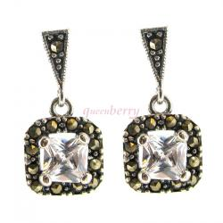 2x Sterling Silver Marcasite Clear CZ Crystal Square Dangle Stud Earring Post