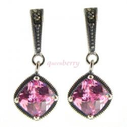 2x Sterling Silver Marcasite Pink CZ Crystal Dangle Stud Earring Post