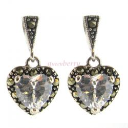 2x Sterling Silver Marcasite Heart Clear CZ Crystal Dangle Stud Earring Post