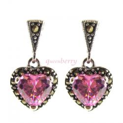 2x Sterling Silver Marcasite Love Heart Pink Rose CZ Crystal Dangle Stud Earring Post