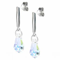 Swarovski Elements Crystal Teardrop Clear AB Sterling Silver Dangle Stud Earring Posts Made with Swarovski Elements Crystal