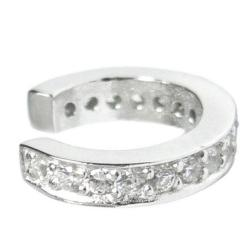 Rhodium on Sterling Silver Round Ring Clear CZ Crystal Pave Cuff Earring / Ear Wrap - Large