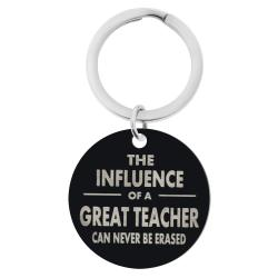 Influence of Great Teacher Engraved Text Circle Round Dog Tag Pendant Keychain Son Daughter Dad Mom Blessing Family Teacher's Day Gift for Him / Her