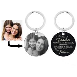 Personalized Photo + a Great Teacher Shapes the Future Circle Round Dog Tag Pendant Keychain Great Teacher Graduation Gift Keepsake
