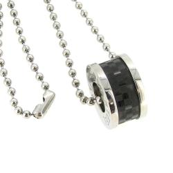 316L Stainless Steel Round Ball 2.3mm Chain Necklace Pendant Carbon Fiber Ring 20""