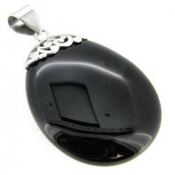 Sterling Silver Flower Oval Black Onyx Charm Pendant 49mm