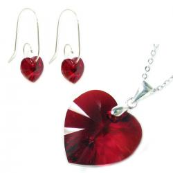 Sterling Silver Necklace Red Siam Love Heart Pendant Earrings Made W/. Swarovski Elements Crystal