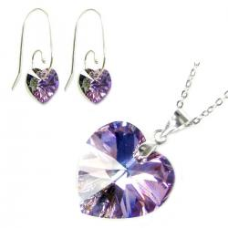 Sterling Silver Necklace Vitrail Light Heart Pendant Earrings Made W/. Swarovski Elements Crystal