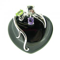 925 Sterling Silver Heart w/ Love Black Onyx Amethyst Gem Stone Crystal Flower Bail Charm Pendant
