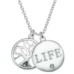 "925 Sterling Silver Family Tree Life Clear CZ Crystal  Pendant Rolo Chain Necklace 16""+1"" Extender"