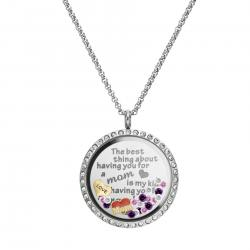 The Best Thing About Having You For a Mom is My Kids Having You for a Grandma Floating Locket Crystals Charm Necklace Pendant