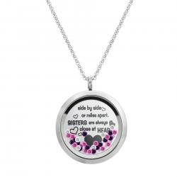 Side ... Sister Are Always Close At Heart Family Daisy Flower Floating Locket Crystals Charm Necklace Pendant