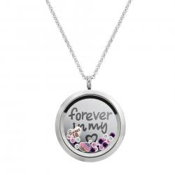 Forever Love Sweet 16 w/ Heart Floating Locket Crystals Charm Necklace Pendant 30mm