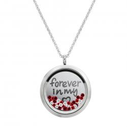 Love Forever Round Floating Locket Red Crystal Chain Necklace Pendant 30mm