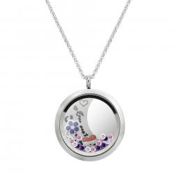 Love You to the Moon and Back Sister Flower Floating Locket Crystal Charm Necklace Pendant 30mm