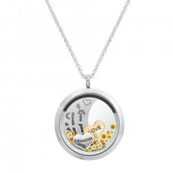 Love You to the Moon and Back Grandma Family Floating Locket Crystal Charm Necklace Pendant 30mm