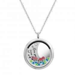 Love You to the Moon and Back Mom Daughter Family Floating Locket Crystal Charm Necklace Pendant 30mm