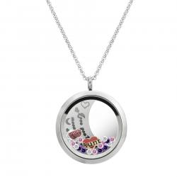 Love You to the Moon and Back Aunt Niece Family Floating Locket Crystal Chain Necklace Pendant 30mm