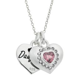 "925 Sterling Silver Mom & Daughter Love Heart CZ Crystal Dangle Charm Chain Necklace 16""+2"" Extender"