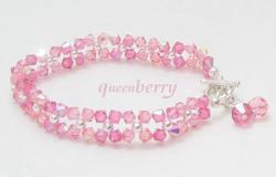Pink Swarovski Crystal Bracelet with Silver Toggle Clasp for Kid