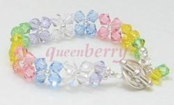 Rainbow Swarovski Crystals With Stylish Silver Toggle Bracelet