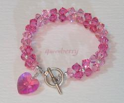 Stylish Silver Toggle Pink Swarovski Heart Bracelet