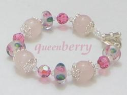Pink SWAROVSKI Crystal Rose Quartz Lampwork Toggle Bracelet