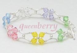 Multi Colors Swarovski Crystals in Stylish H- Silver Bracelet