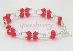 Red Swarovski Crystals in Stylish H- Silver Bracelet