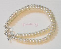 Double Fresh Water PEARLS With Silver Toggle Bracelet