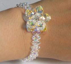 Swarovski Clear Crystal Flower Silver Bracelet - Unique Design