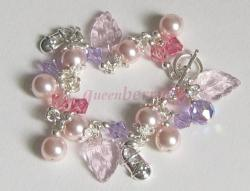Pink Swarovski Crystal Pearl & Glass Leaves Charms Bracelet