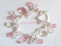 Pink SWAROVSKI Teardrop on Silver Heart Toggle Bracelet