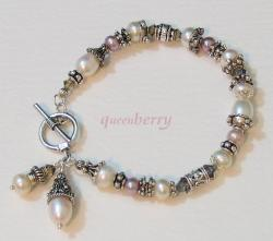 Fresh Water  Pearls and Swarovski in Vintage Silver Bracelet