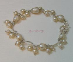 Elegant Fresh Water Pearl Bracelet on on Hand-twistedSilver Wire